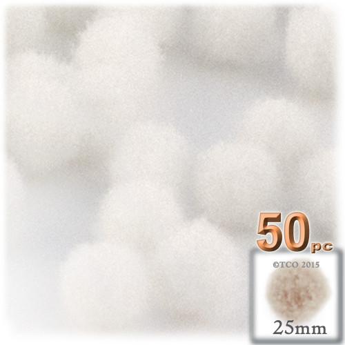 Acrylic Pom Pom, 25mm, 50-pc, White