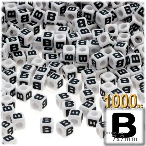 1,000-pc Alphabet Beads, Cube 7mm, Black text, Letter B