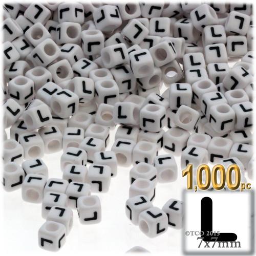 1,000-pc Alphabet Beads, Cube 7mm, Black text, Letter L