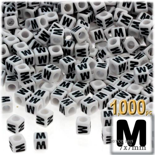 1,000-pc Alphabet Beads, Cube 7mm, Black text, Letter M