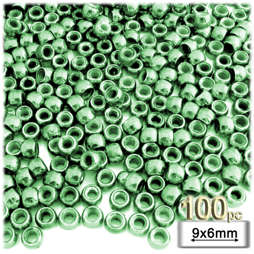Pony Beads, Metallic, 100-pc, 9x6mm, Light Green beads