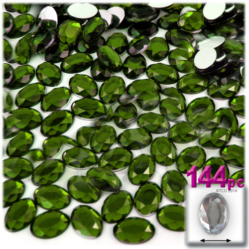 Rhinestones, Flatback, Oval, 6x8mm, 144-pc, Olive Green