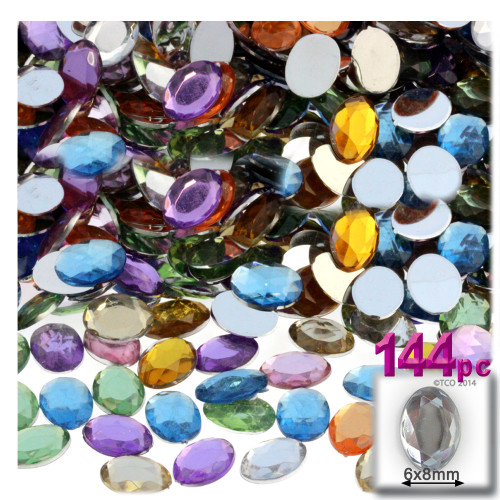 Rhinestones, Flatback, Oval, 6x8mm, 144-pc, Pastel Assortment