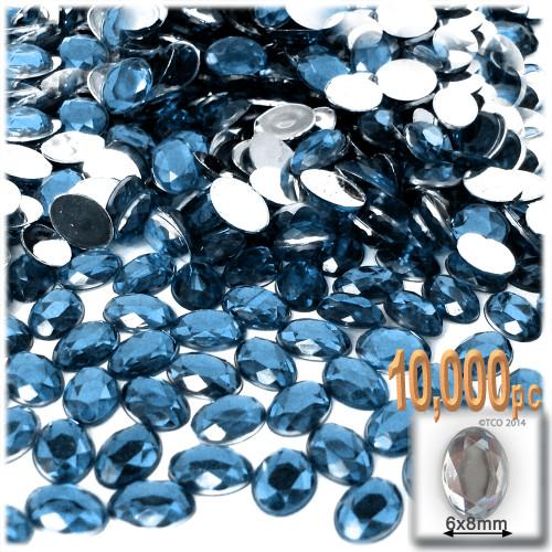 Rhinestones, Flatback, Oval, 6x8mm, 10,000-pc, Blue Jeans