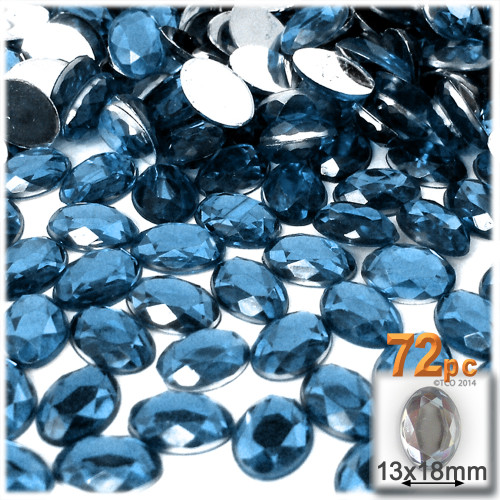 Rhinestones, Flatback, Oval, 13x18mm, 72-pc, Blue Jeans