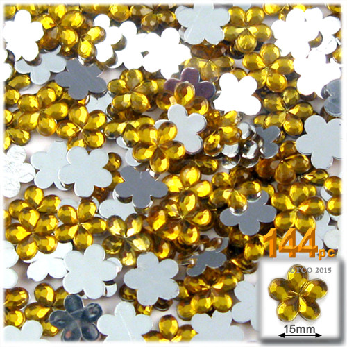 Rhinestones, Flatback, Flower, 15mm, 144-pc, Golden Yellow
