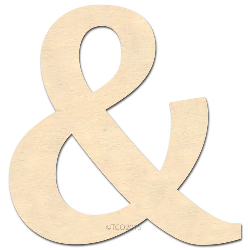 Wooden Shape, 4-in, (&), Ampersand Symbol