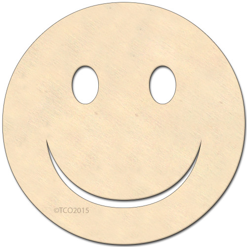 Wooden Shape, 4-in, (Happy Face) emoji emoji shape Happy face symbol