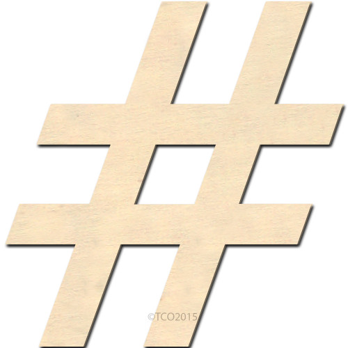 Wooden Shape, 4-in, Hash tag (#) Shape Number Sign