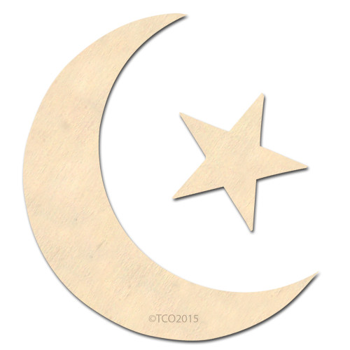 Wooden Shape, 4-in, (Moon and Star) Shape