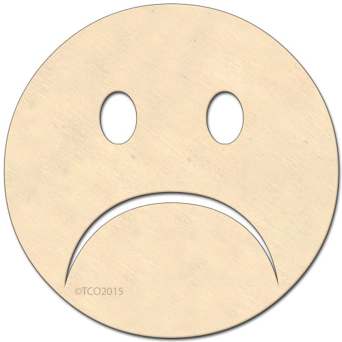 Wooden Shape, 4-in, (Sad Face) emoji emoji shape Sad face symbol