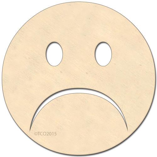 Wooden Shape, 4-in, (Sad Face) emoji emoji shape Sad face symbol