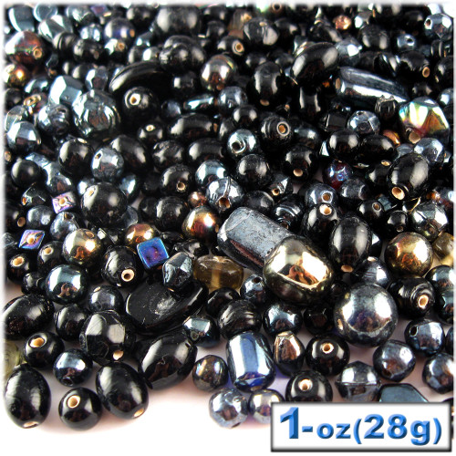 Glass Beads, Assorted, 6-12mm, 1oz=28g, The Crafts Outlet, Black