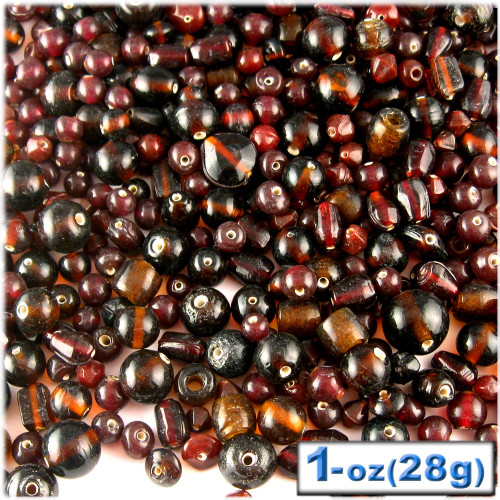 Glass Beads, Assorted, 6-12mm, 1oz=28g, The Crafts Outlet, Brown