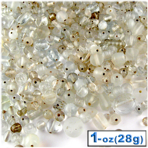 Glass Beads, Assorted, 6-12mm, 1oz=28g, The Crafts Outlet, Clear