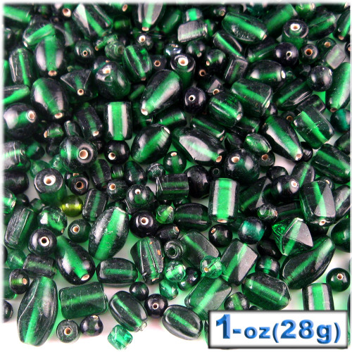 Glass Beads, Assorted, 6-12mm, 1oz=28g, The Crafts Outlet, Emerald Green
