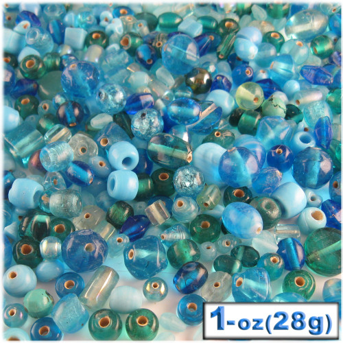 Glass Beads, Assorted, 6-12mm, 1oz=28g, The Crafts Outlet, Light Blue
