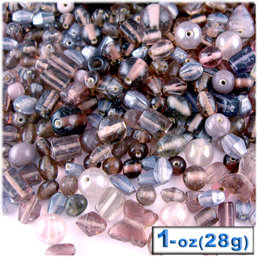 Glass Beads, Assorted, 6-12mm, 1oz=28g, The Crafts Outlet, Lavender