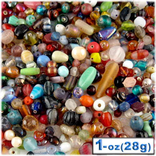 Glass Beads, Assorted, 6-12mm, 1oz=28g, The Crafts Outlet, Mixed
