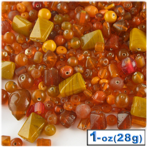 Glass Beads, Assorted, 6-12mm, 1oz=28g, The Crafts Outlet, Orange