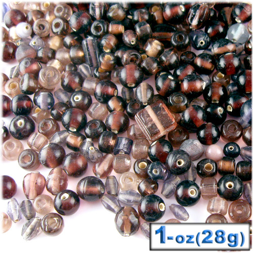 Glass Beads, Assorted, 6-12mm, 1oz=28g, The Crafts Outlet, Purple