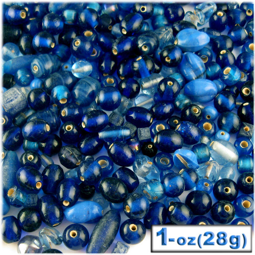 Glass Beads, Assorted, 6-12mm, 1oz=28g, The Crafts Outlet, Royal Blue