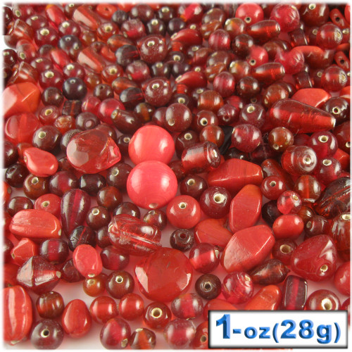 Glass Beads, Assorted, 6-12mm, 1oz=28g, The Crafts Outlet, Red