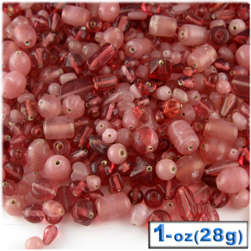Glass Beads, Assorted, 6-12mm, 1oz=28g, The Crafts Outlet, Rose