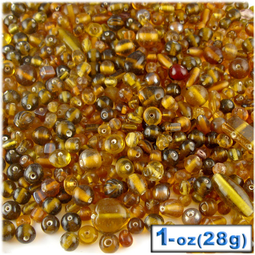 Glass Beads, Assorted, 6-12mm, 1oz=28g, The Crafts Outlet, Rust