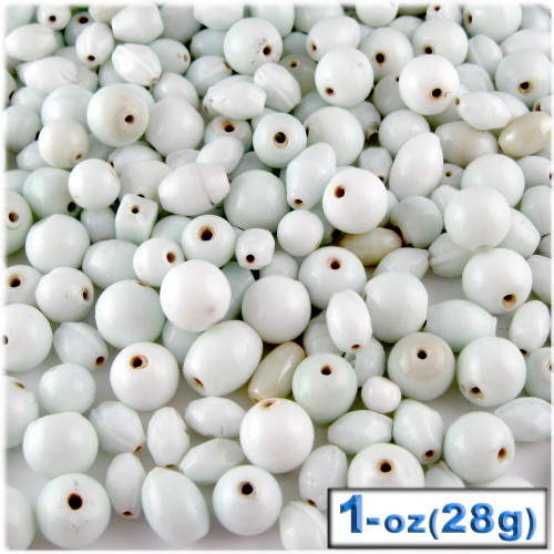 Glass Beads, Assorted, 6-12mm, 1oz=28g, The Crafts Outlet, White