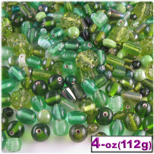 Glass Beads, Assorted, 6-12mm, 4oz=112g, The Crafts Outlet, Light Green