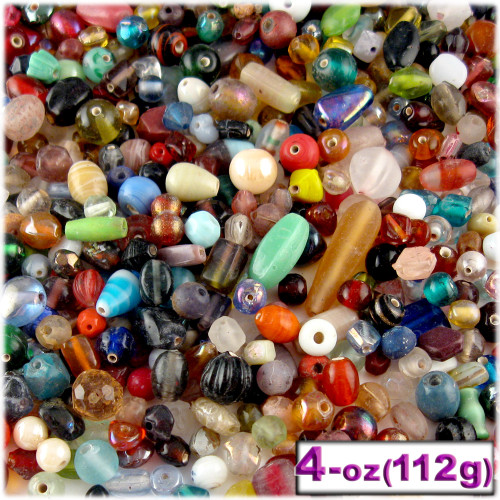 Glass Beads, Assorted, 6-12mm, 4oz=112g, The Crafts Outlet, Mixed
