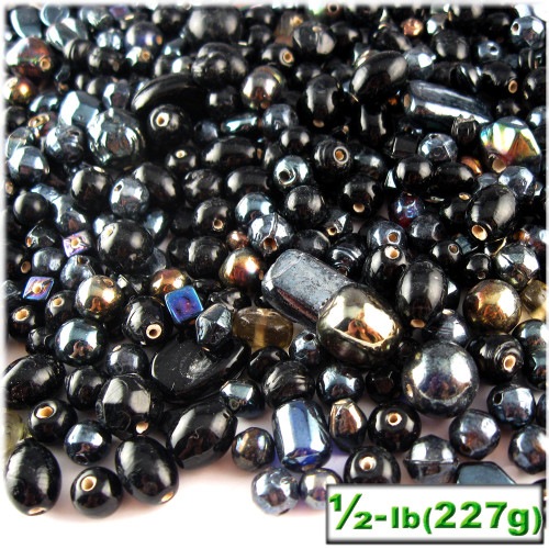 Glass Beads, Assorted, 6-12mm, 8oz=224g, The Crafts Outlet, Black