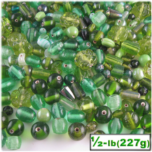Glass Beads, Assorted, 6-12mm, 8oz=224g, The Crafts Outlet, Light Green