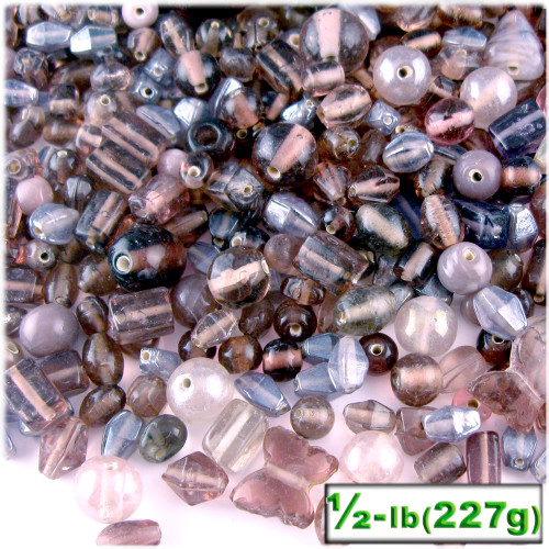 Glass Beads, Assorted, 6-12mm, 8oz=224g, The Crafts Outlet, Lavender