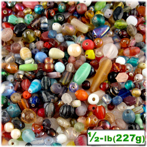 Glass Beads, Assorted, 6-12mm, 8oz=224g, The Crafts Outlet, Mixed