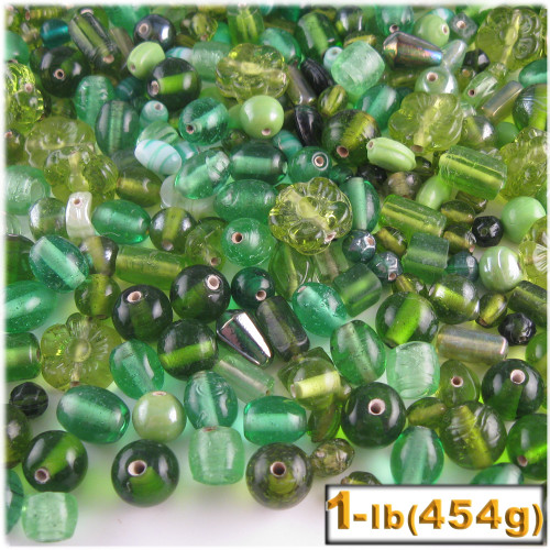 Glass Beads, Assorted, 6-12mm, 1lb=454g, The Crafts Outlet, Light Green