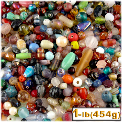 Glass Beads, Assorted, 6-12mm, 1lb=454g, The Crafts Outlet, Mixed