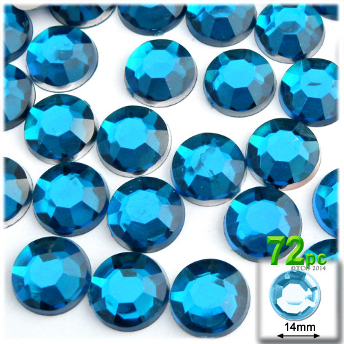 Rhinestones, Flatback, Round, 14mm, 72-pc , Aqua Blue