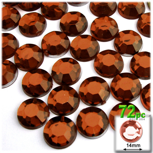 Rhinestones, Flatback, Round, 14mm, 72-pc , Beer Brown