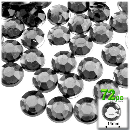 Rhinestones, Flatback, Round, 14mm, 72-pc , Charcoal Gray