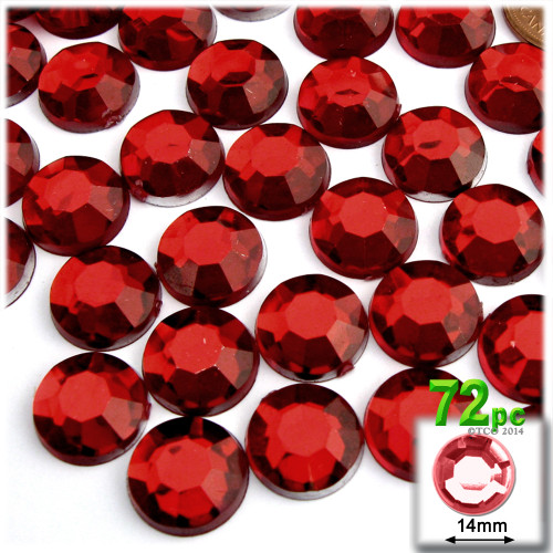 Rhinestones, Flatback, Round, 14mm, 72-pc , Devil Red Wine