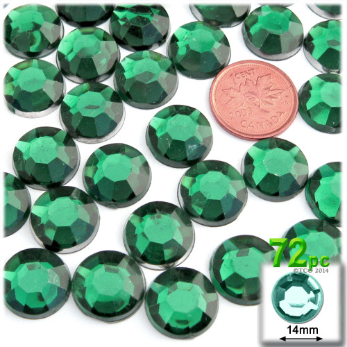 Rhinestones, Flatback, Round, 14mm, 72-pc , Emerald Green