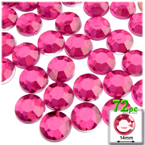 Flatback Rhinestones, Faceted Round, 14mm, 72-pc, Hot Pink