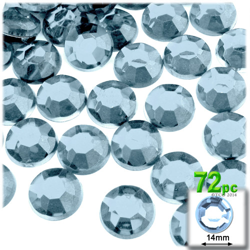 Rhinestones, Flatback, Round, 14mm, 72-pc , Light Baby Blue
