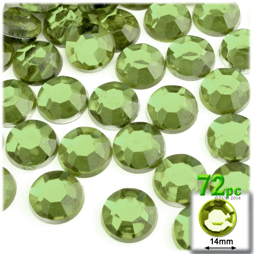 Rhinestones, Flatback, Round, 14mm, 72-pc, Light Green