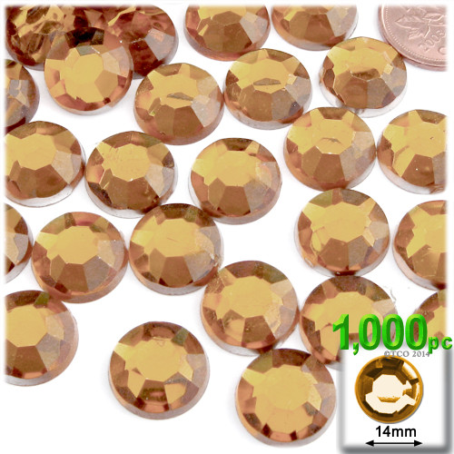 Rhinestones, Flatback, Round, 14mm, 72-pc , Light Orange