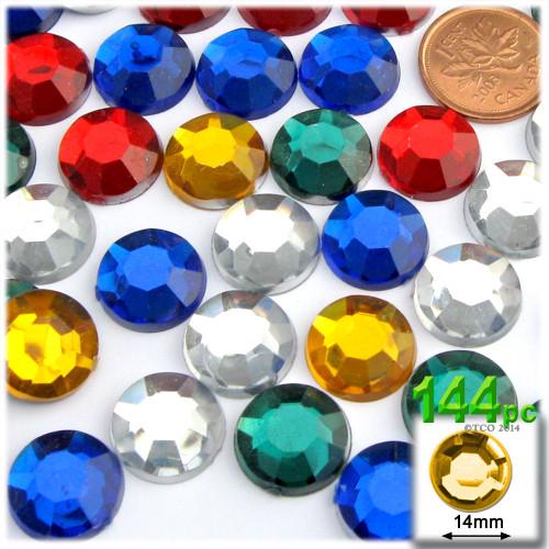 Rhinestones, Flatback, Round, 14mm, 144-pc , Mixed Colors