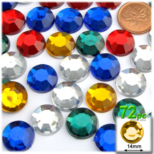 Rhinestones, Flatback, Round, 14mm, 72-pc, Mixed Colors