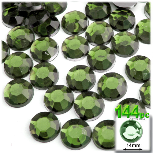 Rhinestones, Flatback, Round, 14mm, 144-pc, Olive Green